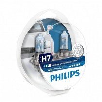ΛΑΜΠΕΣ PHILIPS H7 WHITE VISION 12V 55W 3700K 60% ΠΕΡΙΣΣΟΤΕΡΟ ΦΩΣ + 2 W5W